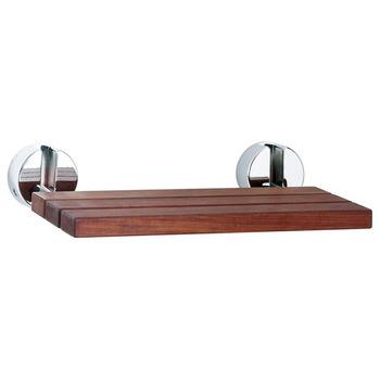 Wall Mounted Folding Teak Shower Seat Bathroom Brown Vivid