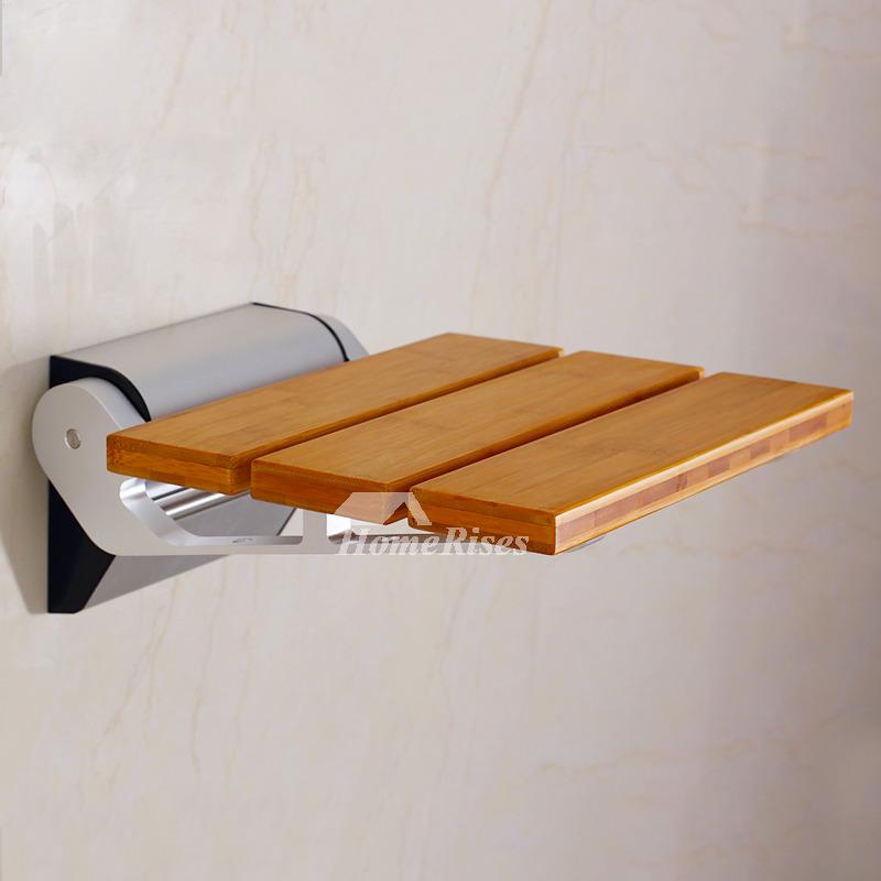 DPXE Bamboo | Teak Wood Grating Wall Mounted Folding Shower Seat