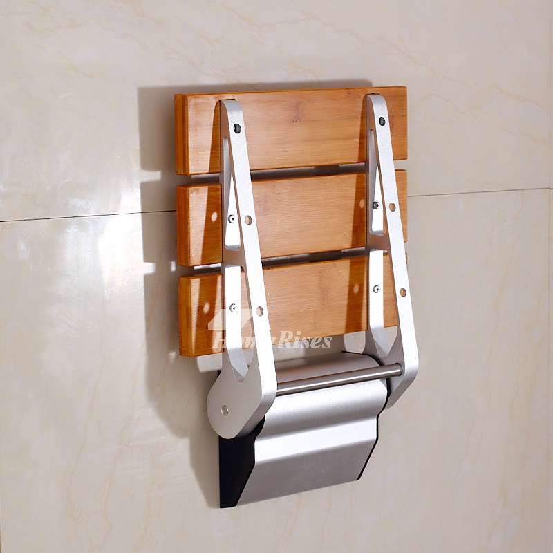 DPXE Bamboo | Teak Wood Grating Wall Mounted Folding Shower Seat