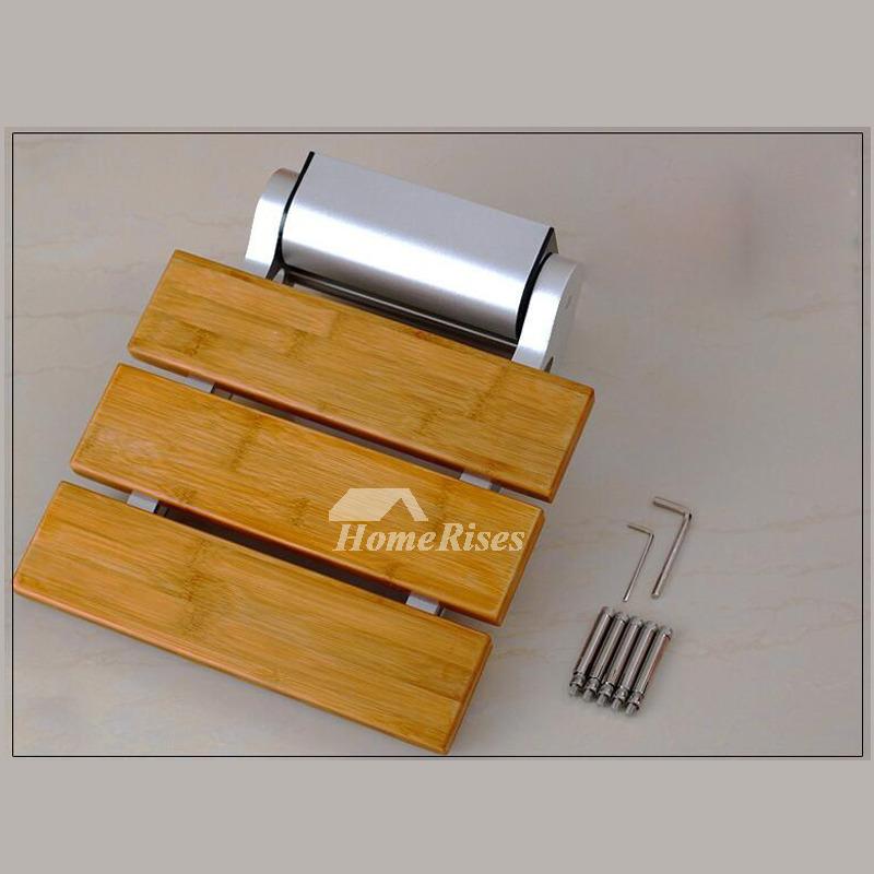 Bamboo   Teak Wood Grating Wall Mounted Folding Shower Seat
