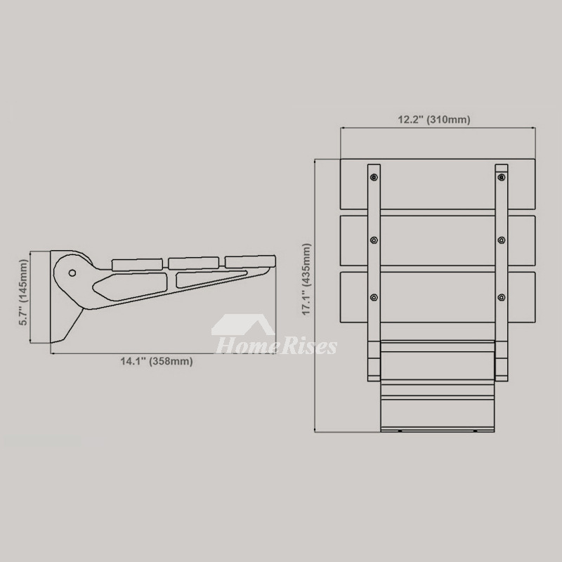 Bamboo | Teak Wood Grating Wall Mounted Folding Shower Seat