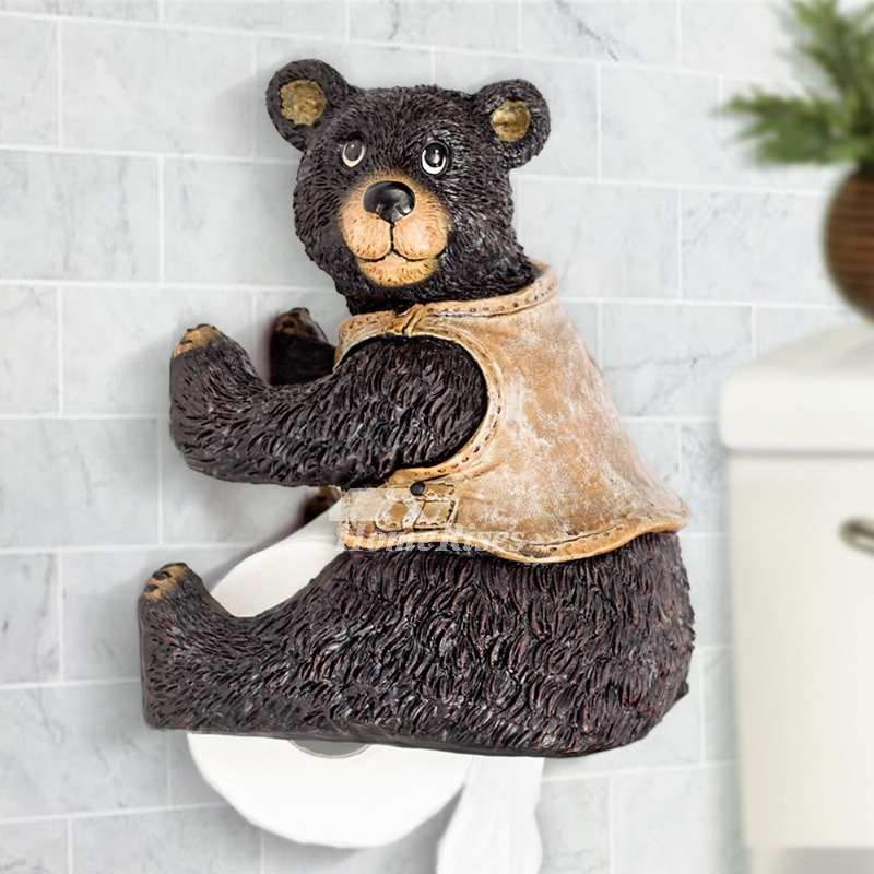Unique funny cute wall mounted bear toilet paper holder Funny toilet paper holders