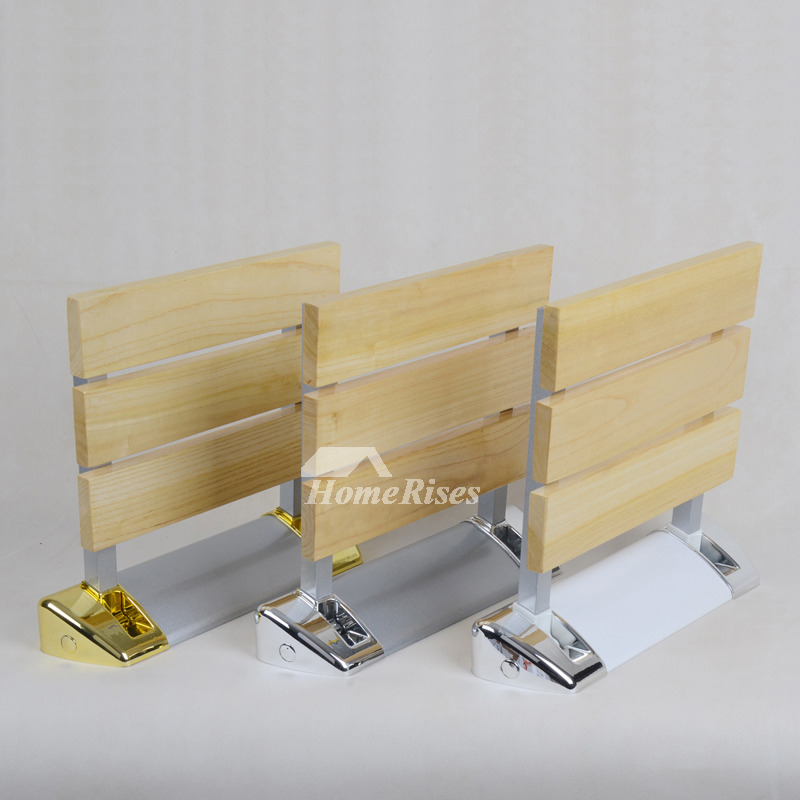 Modern Aluminum And Wood Wall Mounted Folding Shower Seat