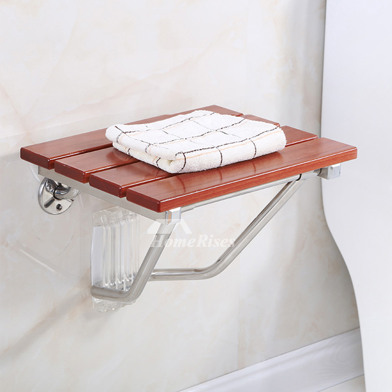 Classic Pine Wood Wall Mounted Folding Shower Seat