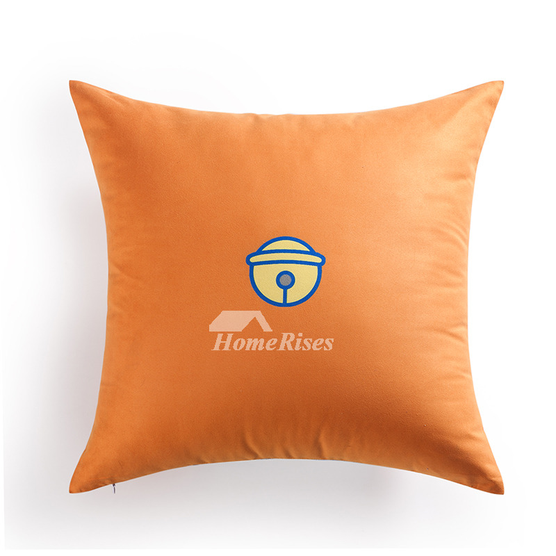 Cute Cartoon Square Large Couch Orange Throw Pillows