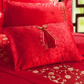 Wedding Bed Red Floral 35*50cm Rectangle Bedding Pillow
