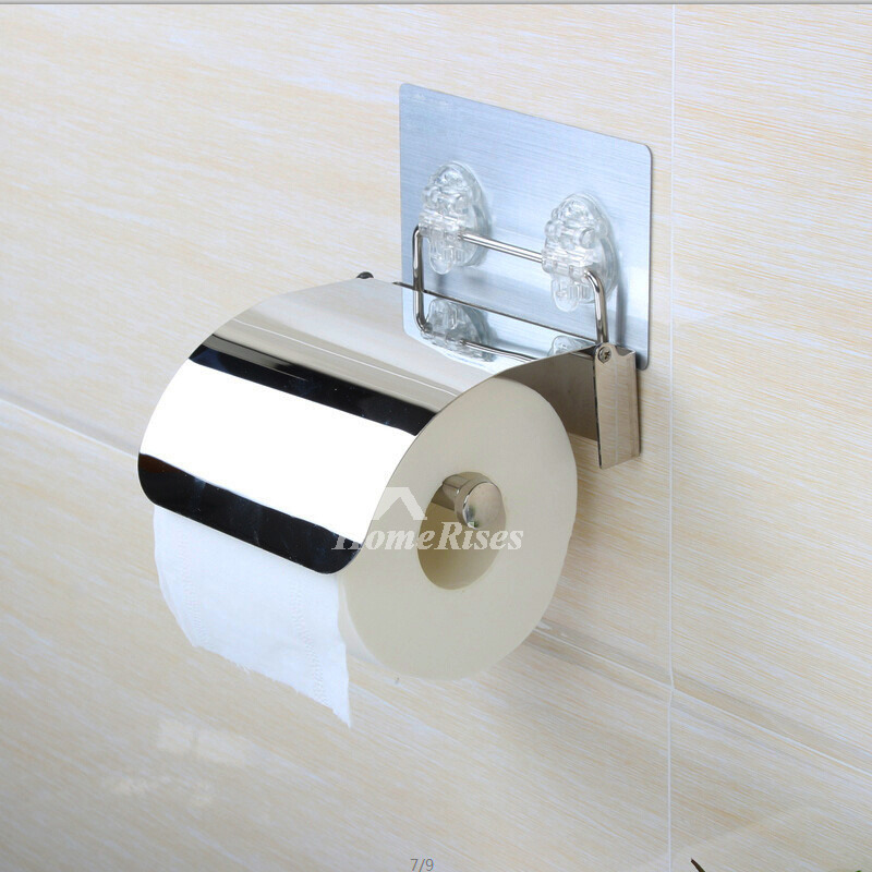 Chrome Wall Mounted Stainless Steel Sucker Toilet Paper Holder