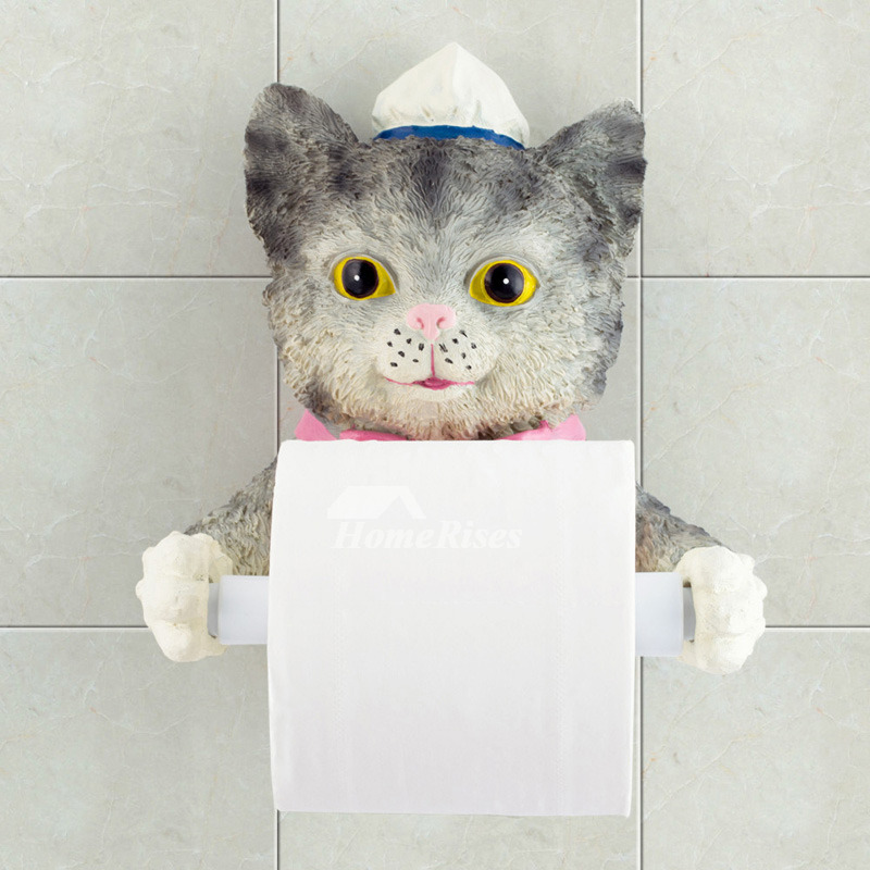 Unusual funny cute wall mounted butler cat toilet paper holder Funny toilet paper holders