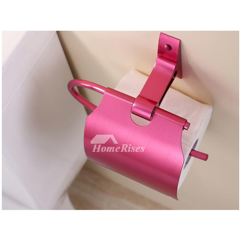 Rose Red Brushed Aluminum Wall Mounted Toilet Paper Holder