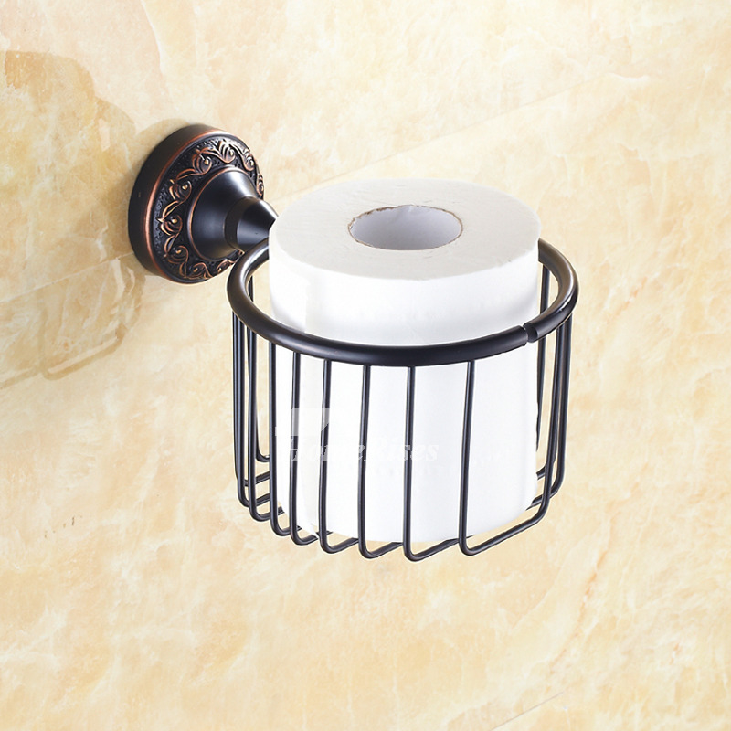Black Brushed Antique Brass Wall Mounted Toilet Paper Holder