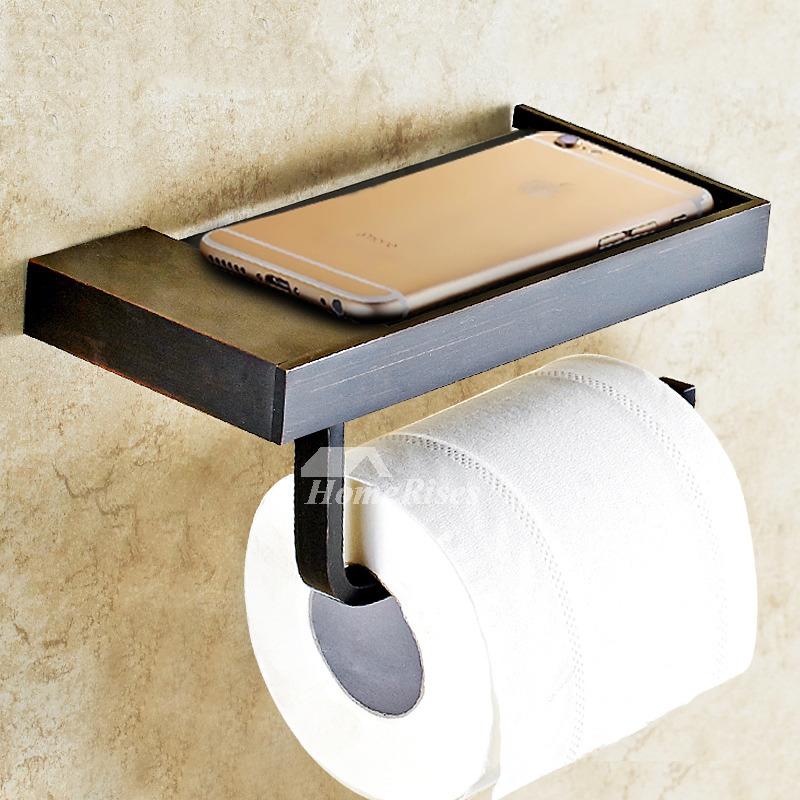 MZ Black Unique Brushed Brass Wall Mounted Toilet Paper Holder