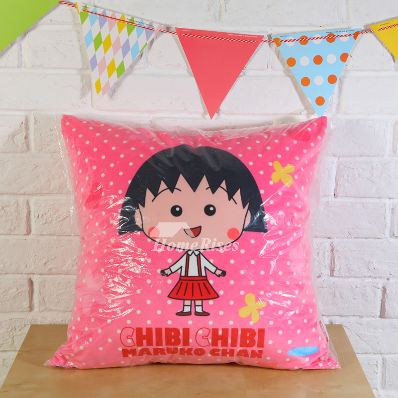 Cute Pink Cartoon Square PP Cotton Couch Throw Pillows