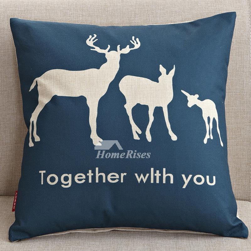 Cute Cartoon Navy Blue Couch Square Cheap Throw Pillows