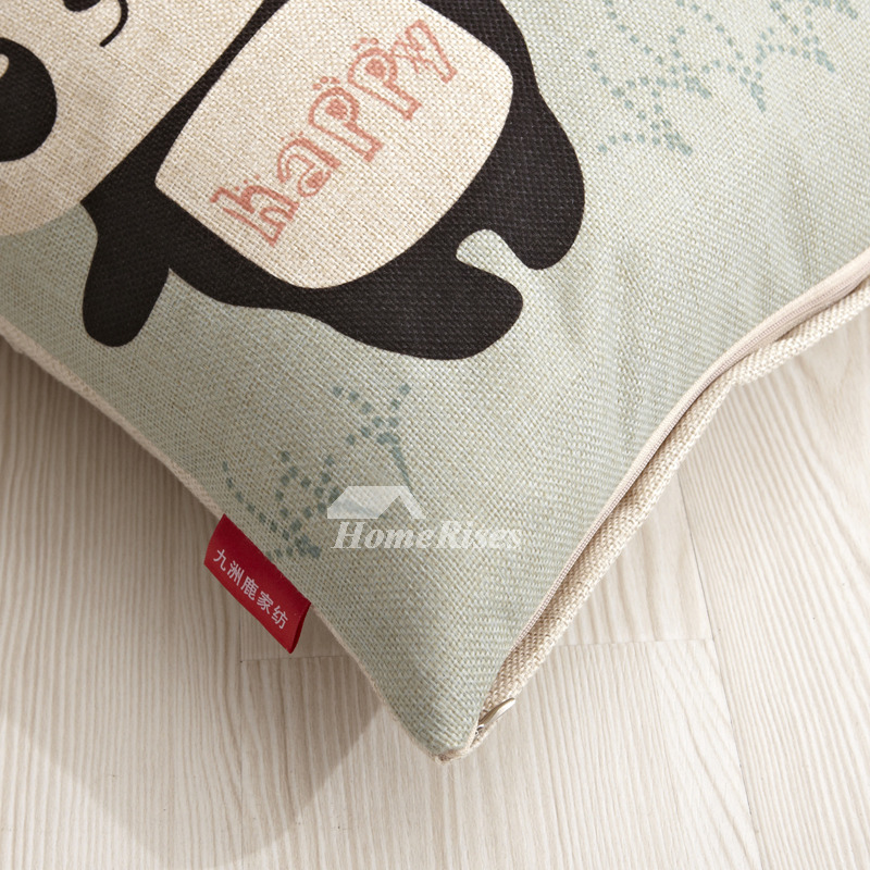 Light Green Cute Cartoon Polyester Fiber Square Cheap Throw Pillows