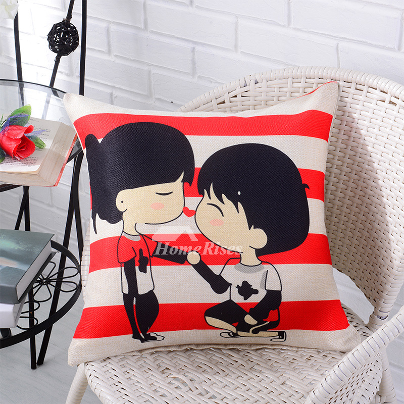 Cartoon Orange Red Cute Couch Square Twin Cheap Throw Pillows