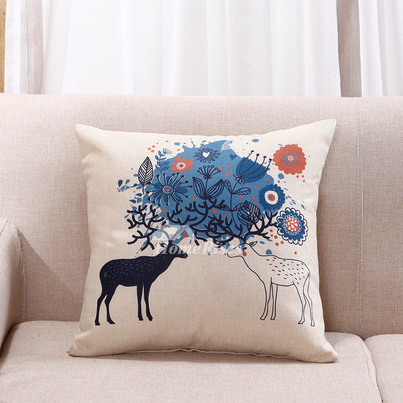 Astounding Cute Blue And White Sika Deer Couch Square Cheap Throw Pillows Pillow Core Not Included Inzonedesignstudio Interior Chair Design Inzonedesignstudiocom