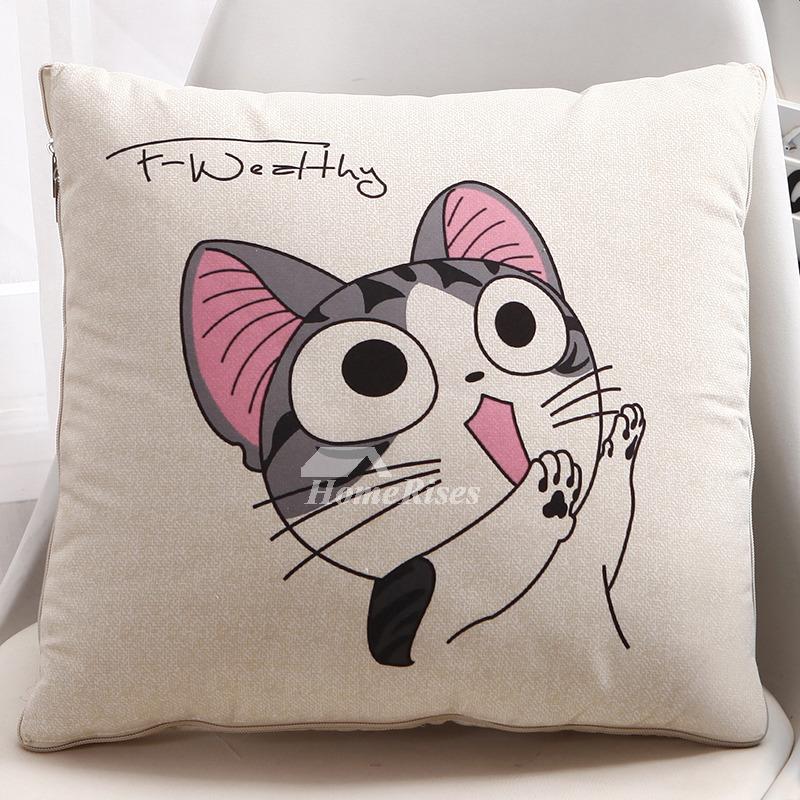 Cute Cat Cream Cartoon Square Couch Cheap Throw Pillows