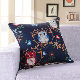 Struggling Bird Navy Blue Cartoon Couch Decorative Throw Pillows