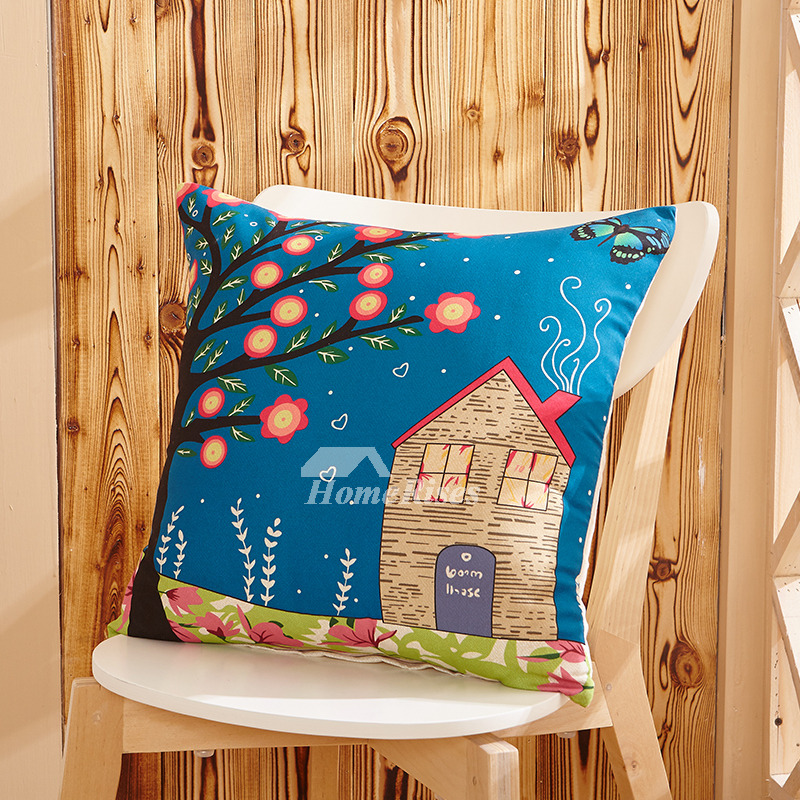 Country Building Tree Blue Throw Pillows Happiness Home