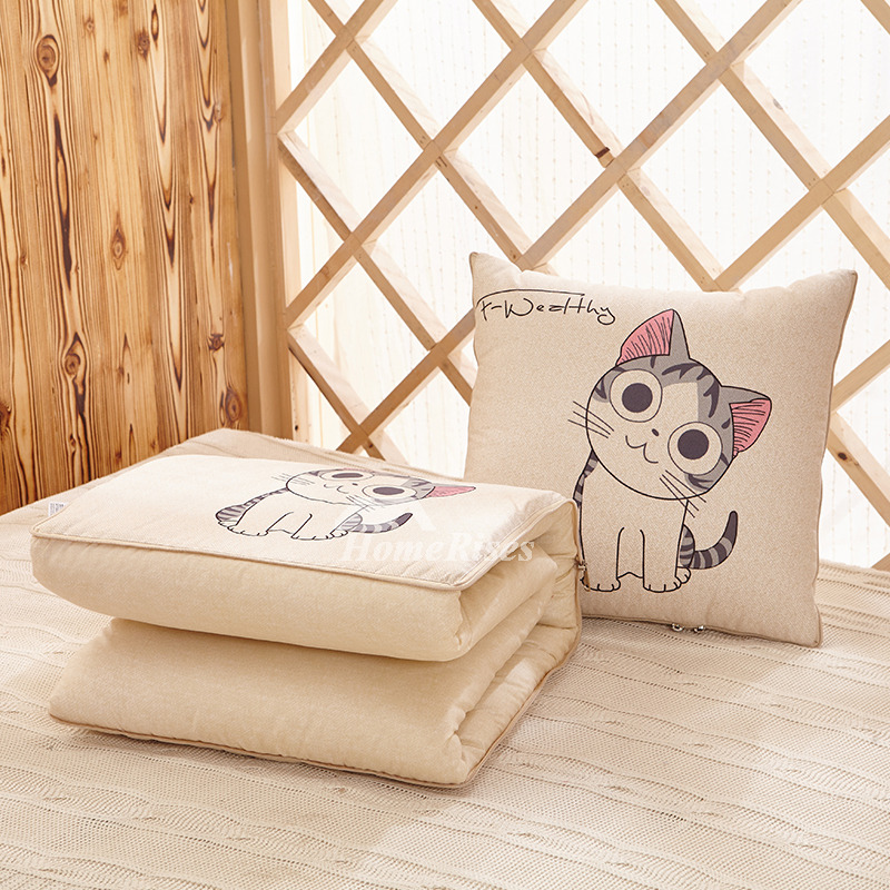 Cute Cat Cartoon Couch Bed Square Cream Throw Pillows