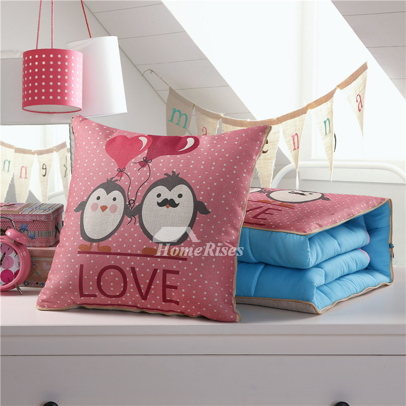 Cute Kids Cartoon Animal Linen Pink Throw Pillows