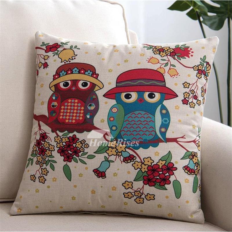 Country Colorful Cartoon Decorative Throw Pillows Couple Owl Simple Country Throw Pillows Decorative