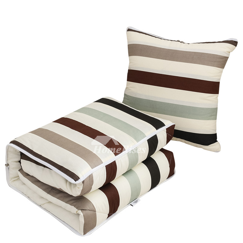 Country Gray Striped Couch Bed Square Throw Pillows