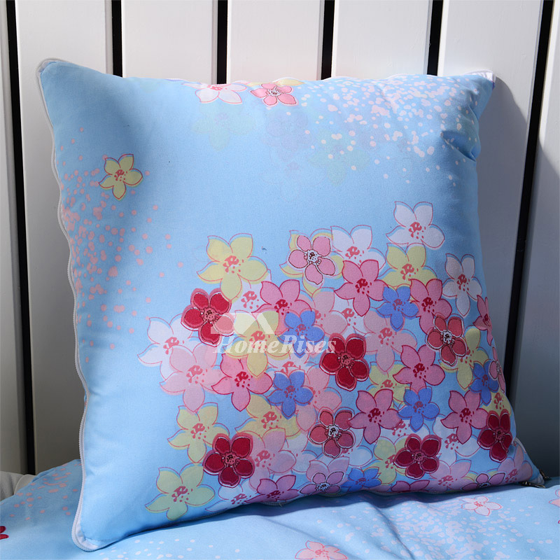 Country Floral Polyester Fiber Blue Throw Pillows Spring