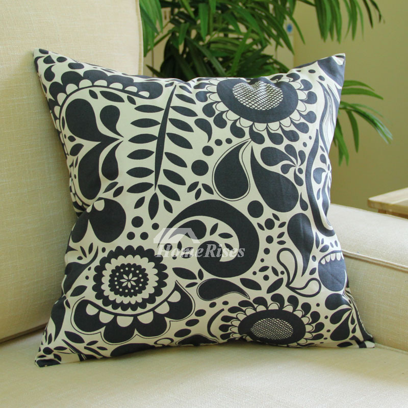 Country Blue Throw Pillows : Ink Chrysanthemum Country Navy Blue Cotton Cheap Throw Pillows