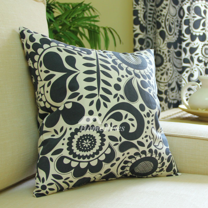 Ink Chrysanthemum Country Navy Blue Cotton Cheap Throw Pillows