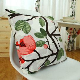 Country Floral Cotton Green Cheap Throw Pillows Leaf