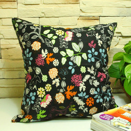 Ink Country Floral Cotton Best Black Throw Pillows