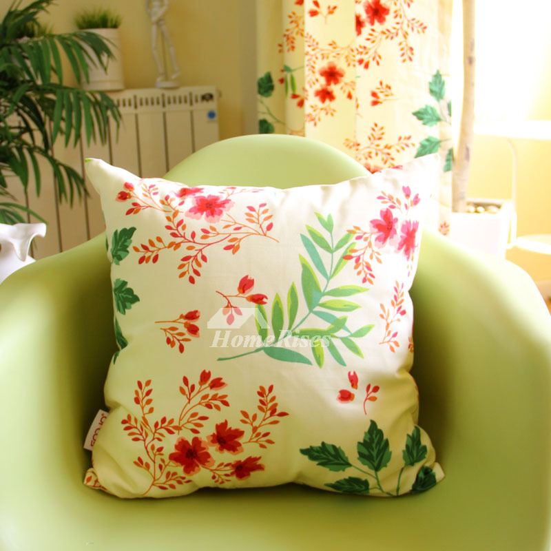 Cotton Country Floral Green Cheap Throw Pillows Maple