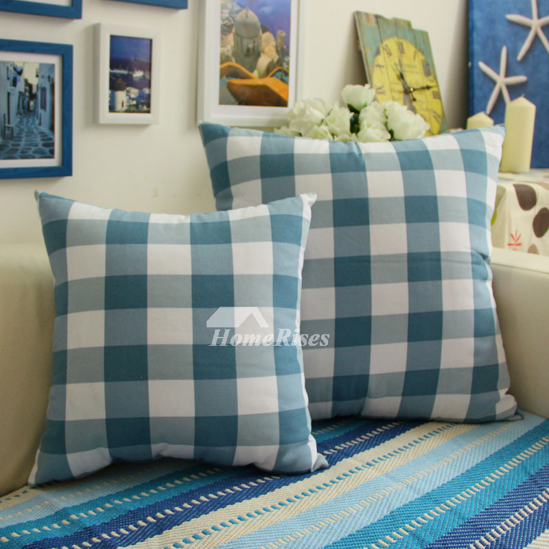 Modern Plaid Cotton Blue And Brown Throw Pillows For Couch