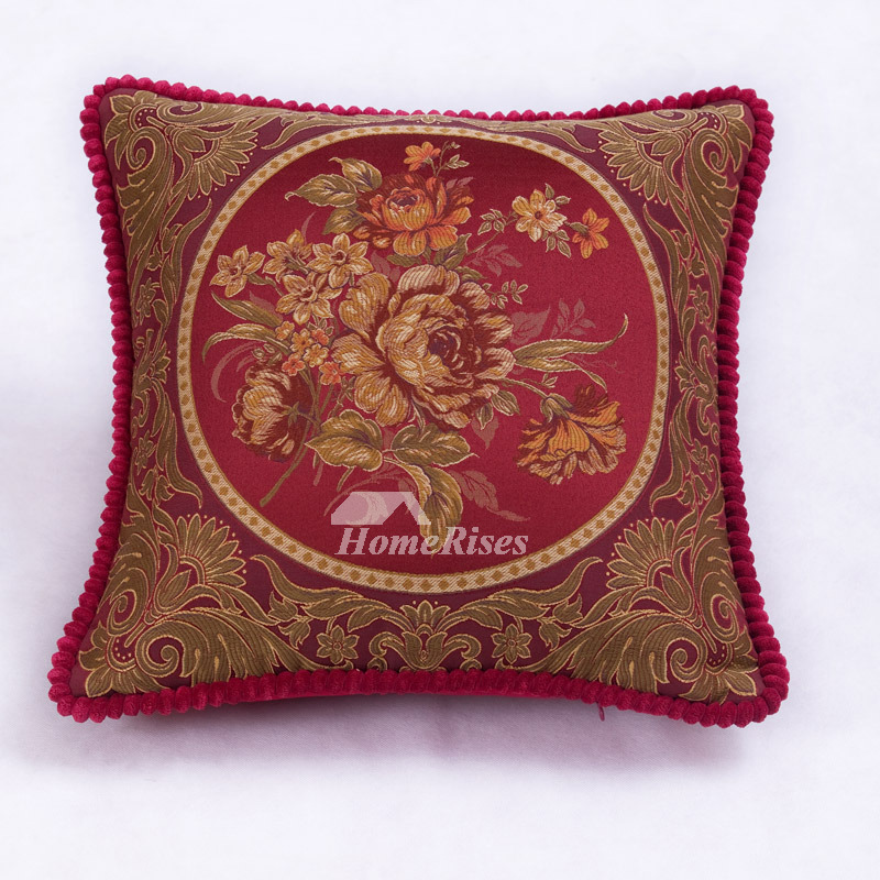 Vintage Floral Plush Couch Burgundy Throw Pillows Fabric Art