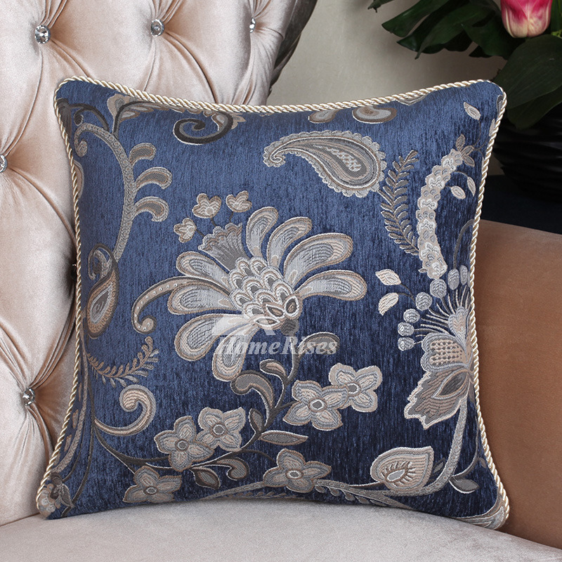 Oversized Country Vintage Floral Blue Best Throw Pillows