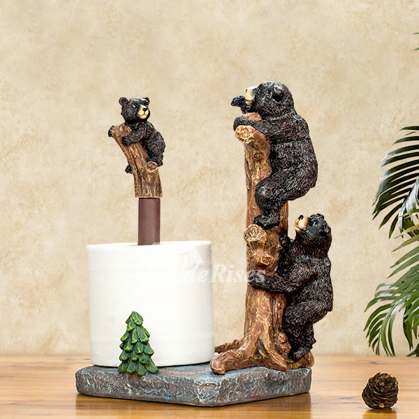 Unique Creative Free Standing Black Bear Toilet Paper