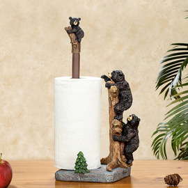 Unique Creative Free Standing Black Bear Toilet Paper Towel Holder