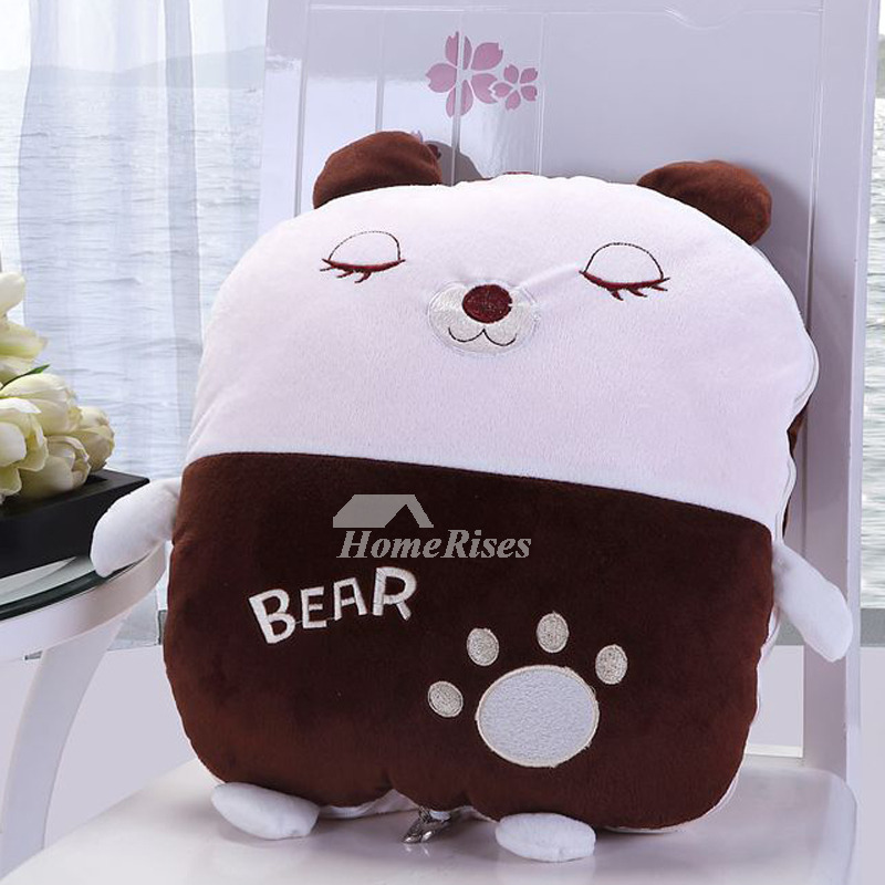 Cute Monogrammed Plush Brown And White Throw Pillows Bear