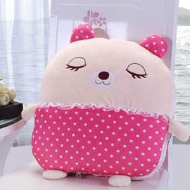 Cute Plush Cartoon Bear Pink Throw Pillows For Couch