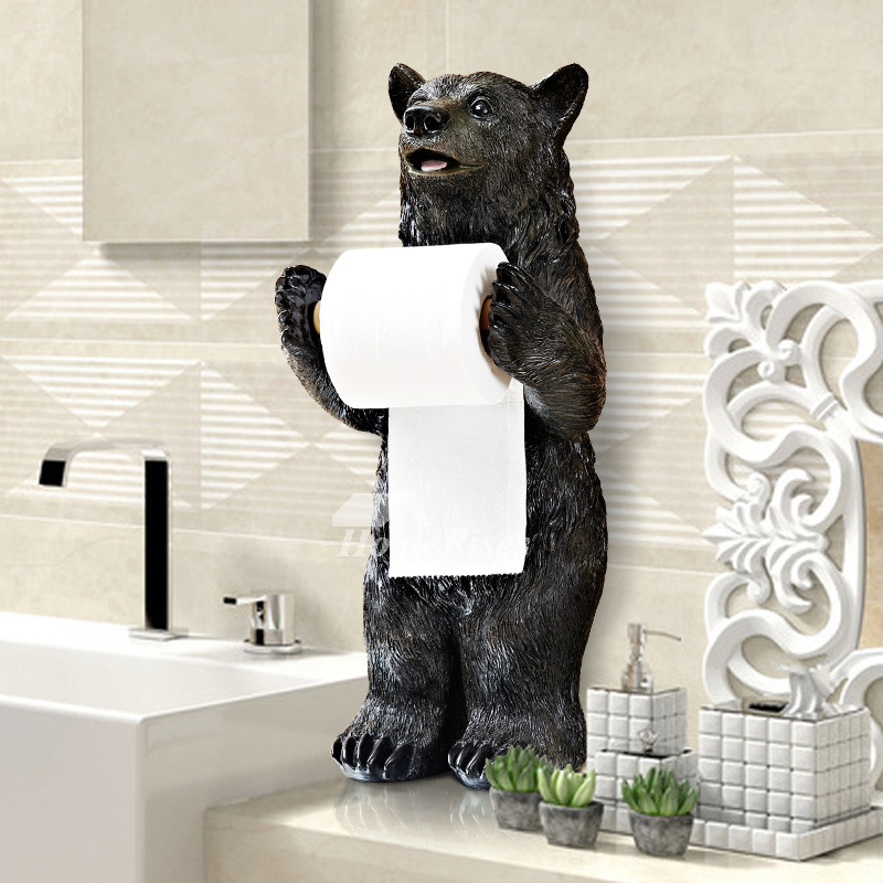 Funny black bear alligator free standing toilet paper holder Funny toilet paper holders