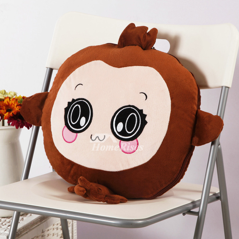 Cute Naughty Monkey Couch Animal Plush Tan Throw Pillows