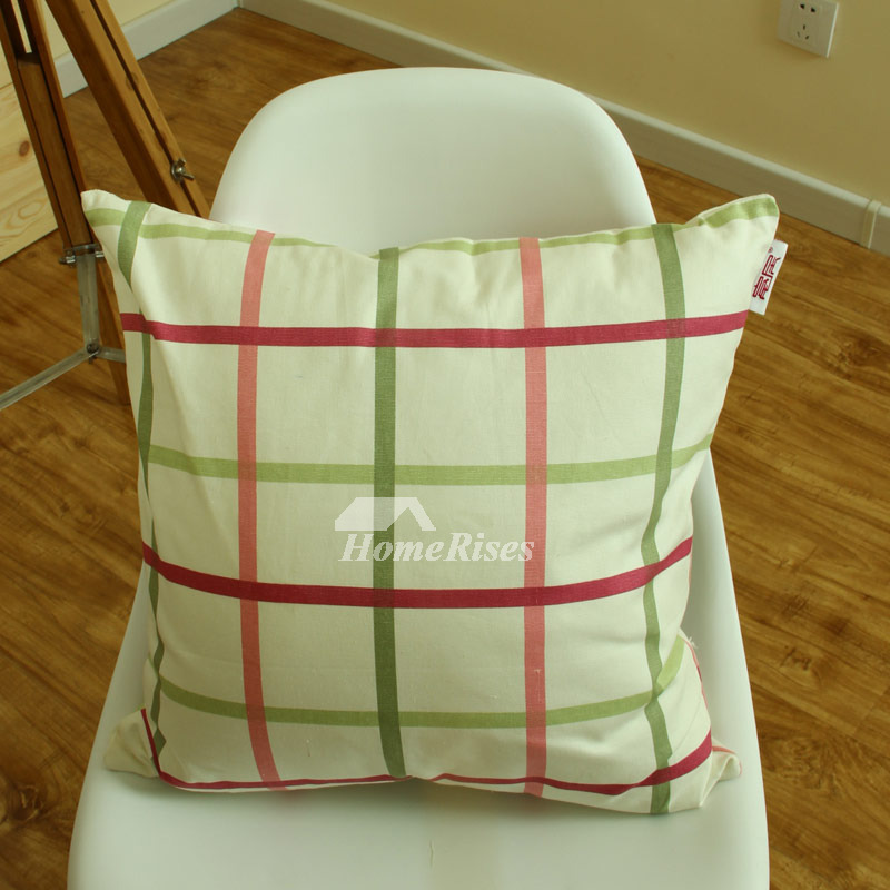 Country Plaid Cotton Couch Square Green Throw Pillows