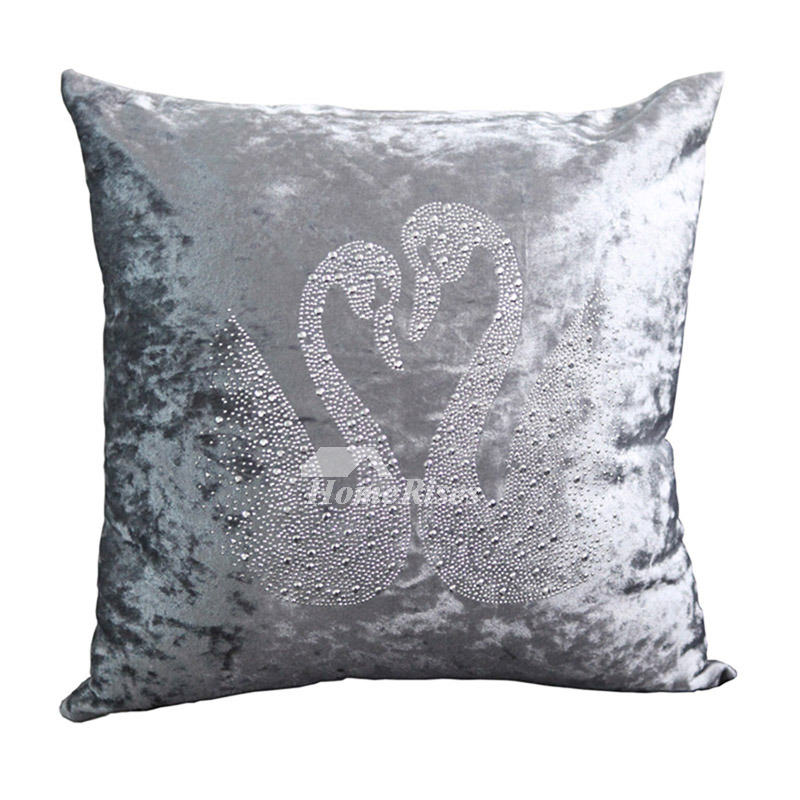 Festive Swan Unique Animal Plush Couch Silver Throw Pillows
