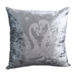 Festive Swan Unique Animal Plush Couch Gray Throw Pillows