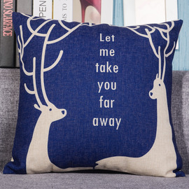 Deer Designer Linen Monogrammed Couch Blue Throw Pillows