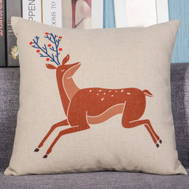 Deer Country Animal PP Cotton Couch Gray Throw Pillows