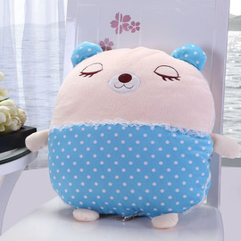 Cute Bear Cartoon Plush Couch Blue And White Throw Pillows