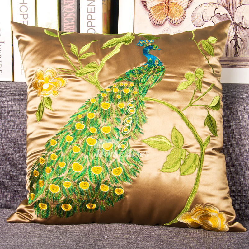 Luxury Silk Throw Pillows : Peacock luxury Silk Best Couch Gold Throw Pillows