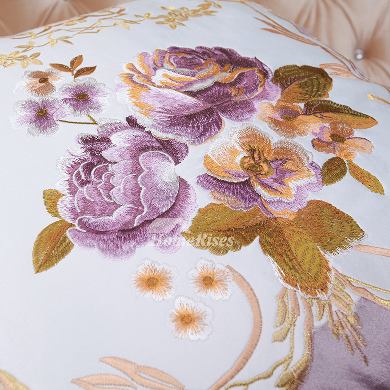 Embroidered Country Floral Purple Throw Pillows For Couch